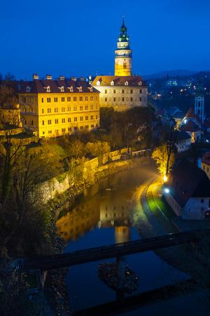 Evening view of Cesky Krumlov Castle, Czech Republic