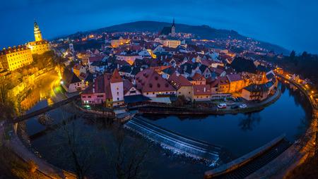 Evening fish-eye panorama of Cesky Krumlov, Czech Republic