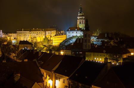 Night view of Cesky Krumlov Castle, Czech Republic Editorial