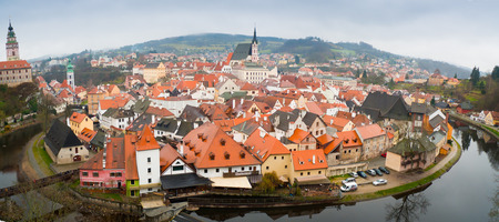 Panorama of the of Cesky Krumlov old town, Czech Republic Editorial