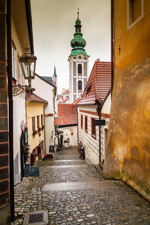 Picturesque street in Cesky Krumlov, Czech Republic