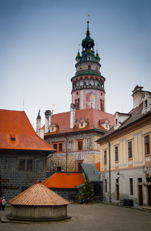 Schlossturm, Cesky Krumlov Schlosskomplex, der Tschechischen Republik