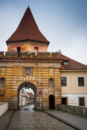 Budejovice gate entering Latran, Cesky Krumlov, Czech Republic Standard-Bild