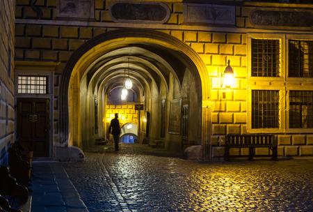 Passage and courtyard, Cesky Krumlov castle complex, Czech Republic
