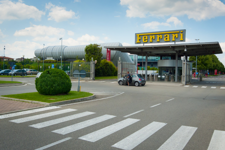 famous industries: MARANELLO, ITALY - MAY 20: New entrance to Ferrari factory on may 20th, 2016. Part of the new Ferrari compound, it includes the wind tunnel designed by archistar Renzo Piano. Editorial