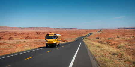 School bus on highway 89, Gray Mountain, Arizona, USA
