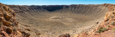 Panoramic view of Meteor Crater in Coconino County, Arizona, USA