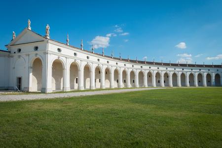 Side arcade of Villa Manin palace, near Udine, Friuli, Italy