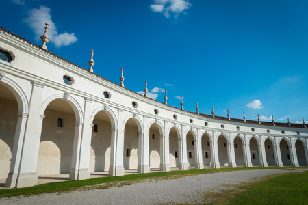 Close view of side arcade of Villa Manin palace, near Udine, Friuli, Italy