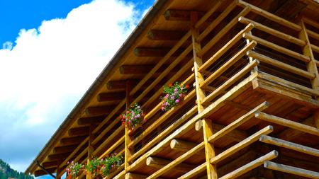 Traditional rural wooden architecture in the north of Friuli Venezia Giulia, Italy Фото со стока