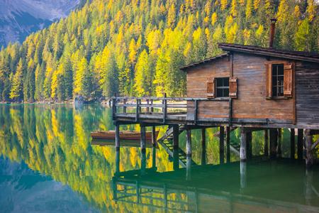 Lodge on Prags lake and Dolomites, Trentino Alto Adige, Italy