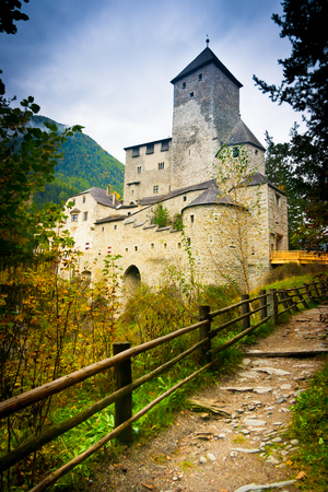 Path leading to Taufers Castle above Sand in Taufers, Aurina valley, South Tyrol, Trentino Alto Adige, Italy