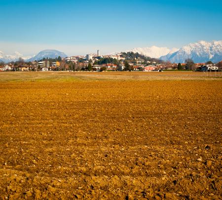 View of San Daniele del Friuli from the surrounding fields in Friuli Venezia-Giulia, Italy
