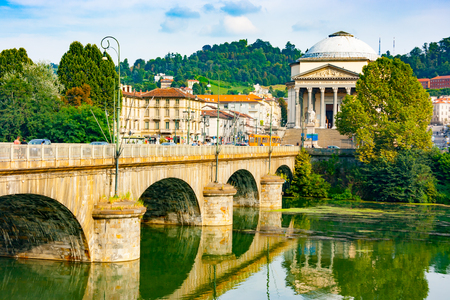 Vittorio Emanuele I bridge on Po river and Great Mother of God cathedral including the Memorial to the Fallen in World War I, Turin, Piedmont, Italy Stock Photo