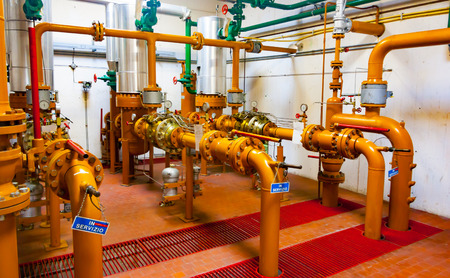 Main valves of a natural gas distribution station in northern Italy 스톡 콘텐츠