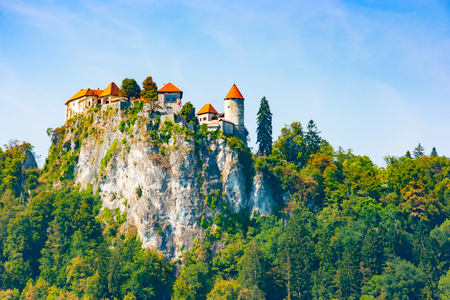 Bled Castle build on a precipice overlooking Lake Bled, Upper Carniola, Slovenia
