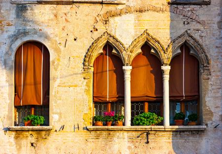 Venetian gothic house windows detail, Portogruaro, Venice, Veneto, Italy