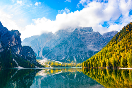 South landscape view of Prags (Braies) lake, Brunico, Bolzano, Trentino Alto Adige, Italy, Europe Stock Photo