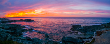 Panoramic view of a stunning summer sunset in Formentera, Baleari Islands, Spain