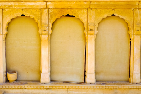 Detail of Royal Palace architecture in Jaisalmer, Rajasthan, India Editorial