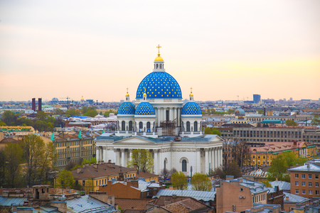 View of the Trinity Cathedral in the morning. Petersburg, Russia.