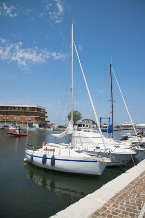 adriatico: White yachts in the port waiting. Misano Adriatico, Emilia Romagna, Italy Stock Photo