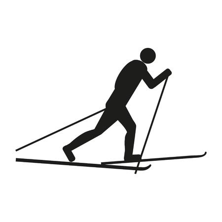 Skier icon; Black silhouette skiing man on white background.