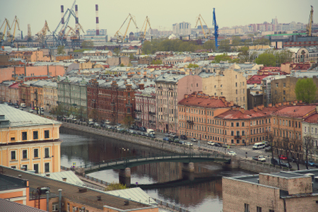 The view from the roof at the bridges and the embankment of the river. Petersburg. Russia.