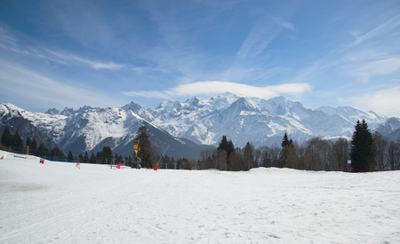 Mont Blanc mountain massif, France. Mountains in the haze.
