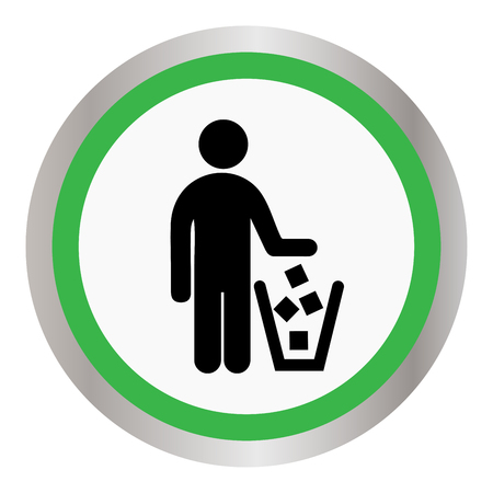 food waste: No littering sign icon illustration.
