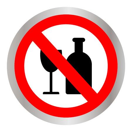 No alcohol sign on white background. Illustration