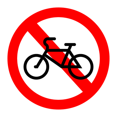 No bicycle, bike prohibited symbol. Signal of the prohibition or rule. Warning and forbidden. Flat design. Vector illustration. Ilustrace