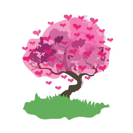 Love tree on white background, vector illustration.