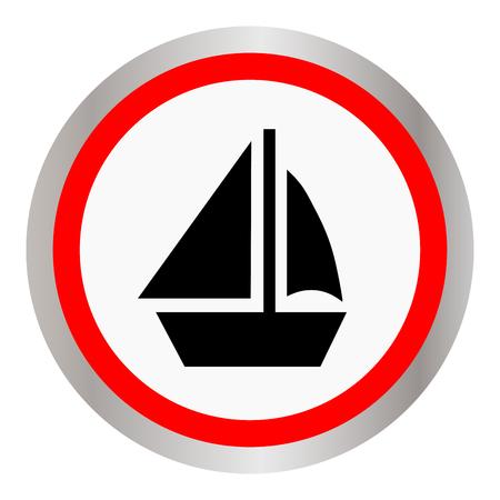 Round boat icon on a white background slim design