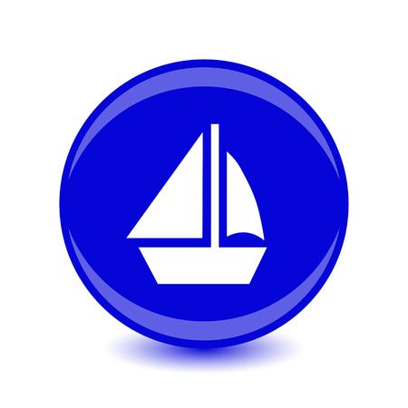 yacht icon, blue circle