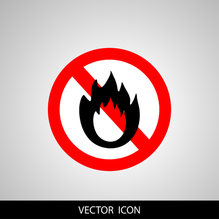 forewarn: No Fire sign. Prohibition open flame symbol.