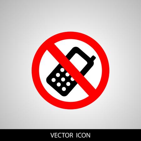 アイコン丸禁止されています。灰色の背景に携帯電話記号をオフにします。  イラスト・ベクター素材