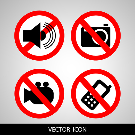 Set of icons forbidding. Do not call, do not take pictures, do not make noise. Illustration