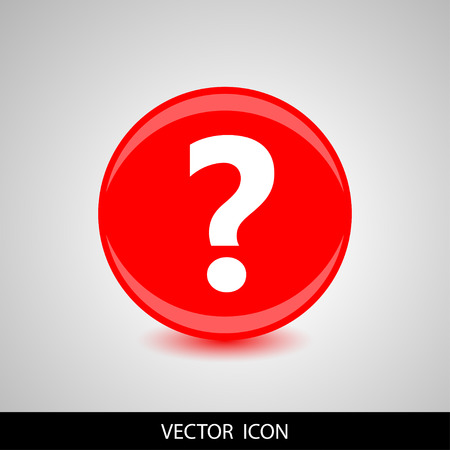 Question icon on red background. Vector illustration.
