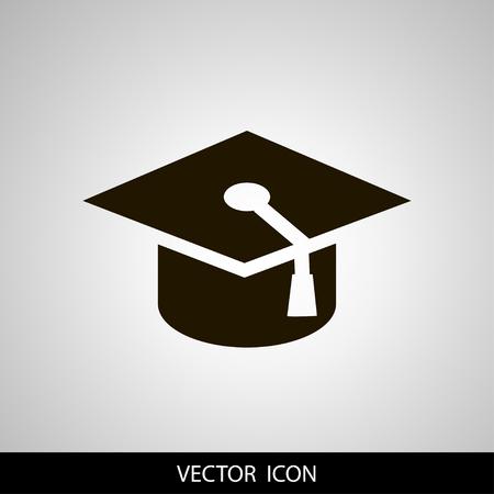 graduation cap icon, vector illustration. Flat design style. Illustration