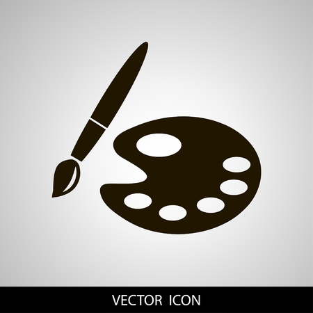 Paint brush with palette icon. Flat design style.