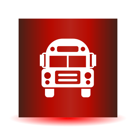 School Bus icon vector, solid illustration, pictogram isolated on red