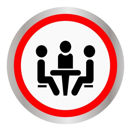 Conferentie-pictogram. Mensen zitten aan de tafel. Stock Illustratie