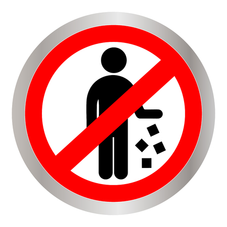 Red circle no littering prohibited sign, icon or label isolate on white background