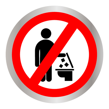 Do not throw trash in the toilet symbol.