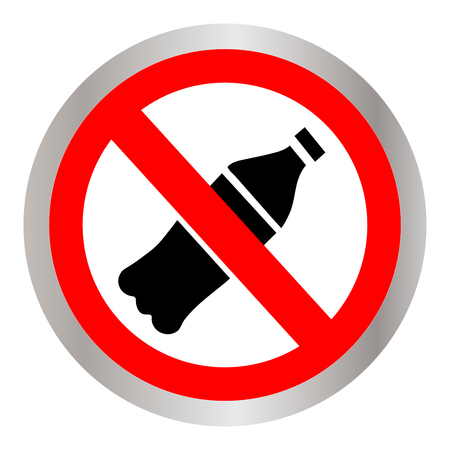 No throwing of plastic bottles sign icon