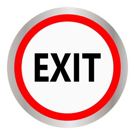Exit red glossy circle icon on white background