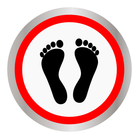 Footprint icon sign in flat circular design isolated on white Illustration