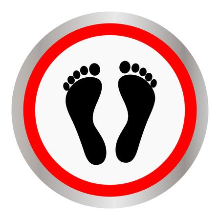 Voetafdruk pictogram teken in platte circulaire ontwerp geïsoleerd op wit
