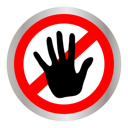 The crossed hand in a red restriction circle symbol. Hand ban on white background